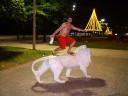 Aroldo (incomp), - estátua leão - Praia, Santos